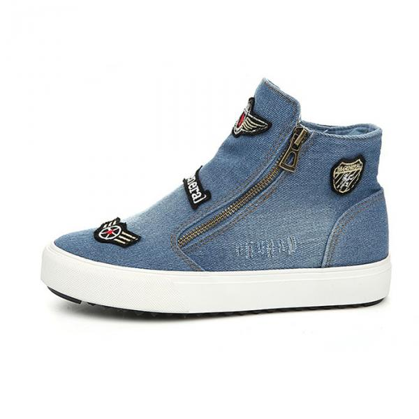 Baskets Sneakers Femme Jean Vintage Patch Bleu Clair