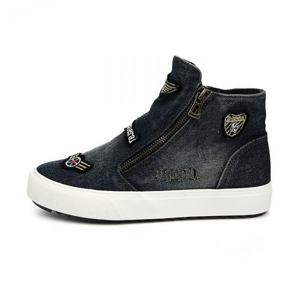 new arrival 35ac0 ccfc0 Baskets-sneakers-femme-jean-vintage-patch-design-denim-patches-style-noir- black-2-600x600.jpg