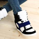 Basket Femme montantes Fashion chic compensees Bleu