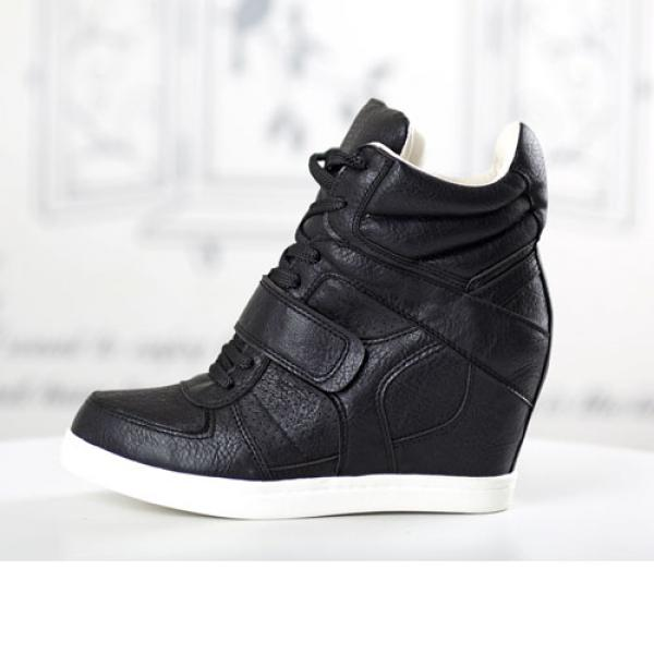 Basket Femme montantes cuir unies chic elegantes semelles compensees Noir