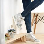 Basket Femme montantes shiny metallisee studded fashion Argent