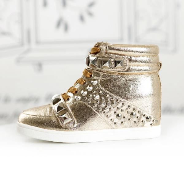 Basket Femme montantes shiny metallisee studded fashion Or
