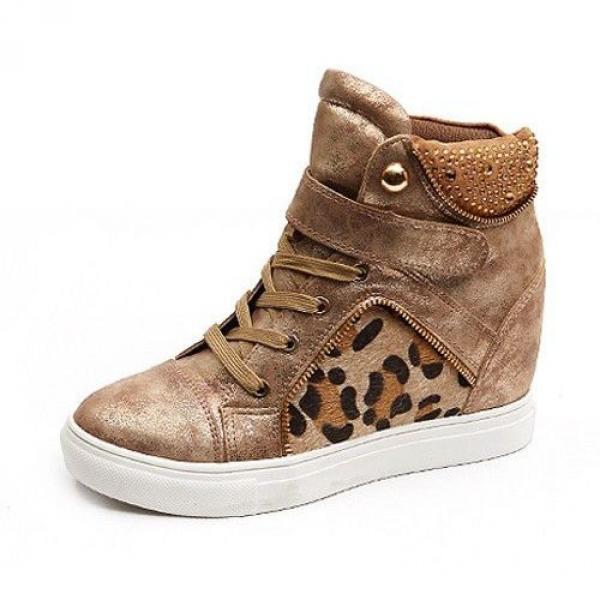 Baskets Femme montantes cuir leopard chic elegantes semelles compensees Dore Or