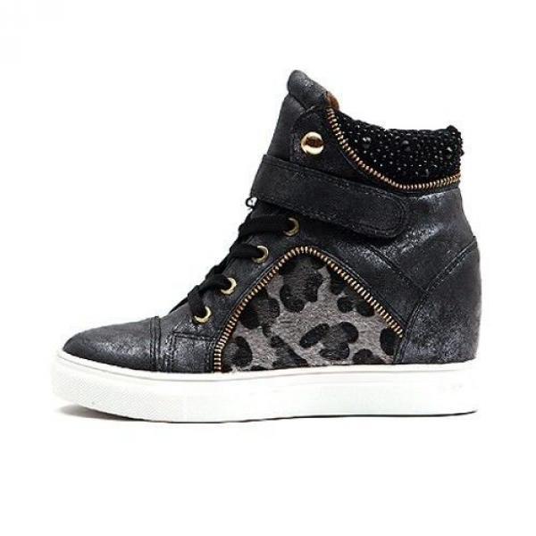 33266420228 Baskets Femme montantes cuir leopard chic elegantes semelles compensees  Noires strass