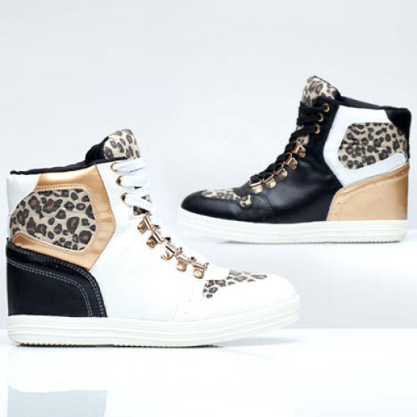 Baskets Sneakers Hip Swag Femme Montantes Noir Blanc Cuir Hop xX6O17xq