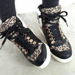 Baskets Femme montantes cuir leopard Noir Blanc Hip Hop Swag Sneakers