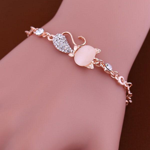 Bracelet Fantaisie Forme Chat Strass Rose dore Elegant