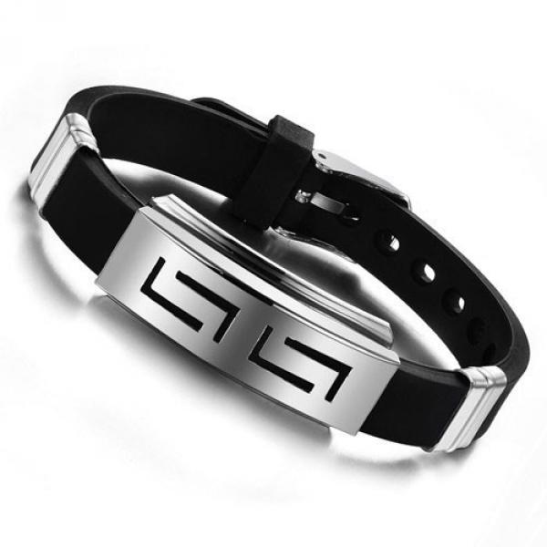 Bracelet Homme Unisex Metal Acier Punk ajustable Geometrique