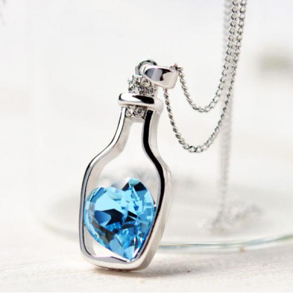 Collier pendentif Chaine Bouteille Amour Pierre fantaisie Fashion