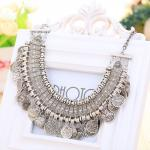 Collier Bohemien Pieces Argente Gypsy Tibetain Style Boheme Chic