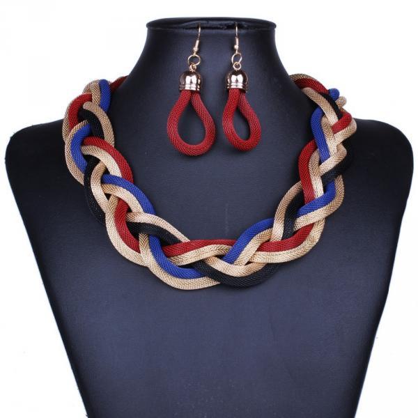 Parure Collier Boucles d Oreilles Corde tressee Multicolore Plastron Rouge Bleu