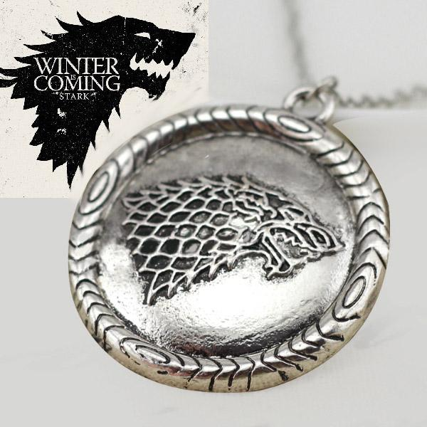 Collier Pendentif Bijou Game of Throne Maison Stark Loup Wolf Devise