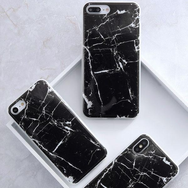 Coque Iphone Design Marbre Black Noir