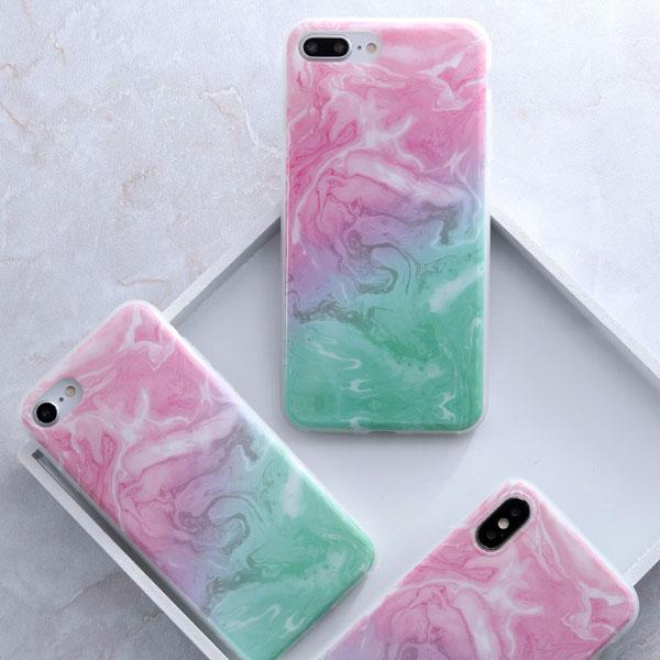 Coque Iphone Design Marbre Gradiant Rose Vert