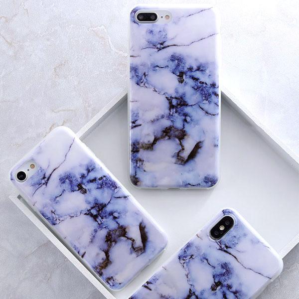 Coque Iphone Design Marbre Violet Bleu