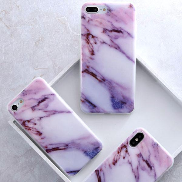 Coque Iphone Design Marbre Violet Rose