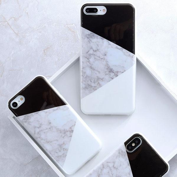 Coque Iphone Design Marbre Triangle Noir