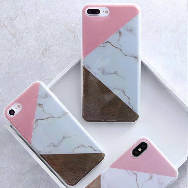 Coque Iphone Design Marbre Triangle Rose
