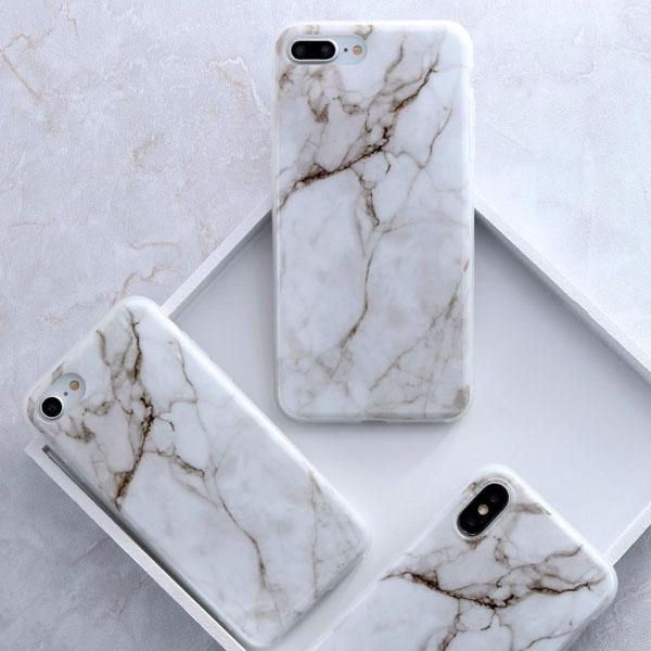 Coque Iphone Design Marbre Beige Blanc