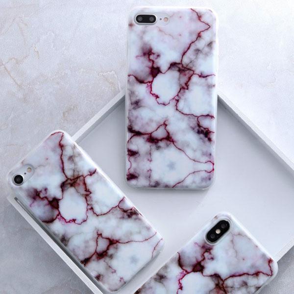 Coque Iphone Design Marbre Rouge Blanc