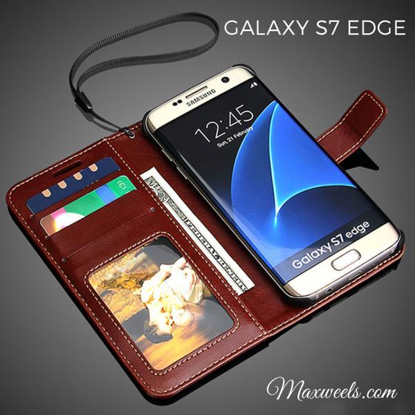 Coque Etui Samsung S7 S7 Edge Clapet Magnetique Cuir Luxe design