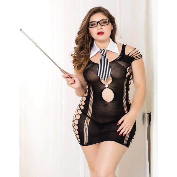 Costume Maitresse d ecole Robe Sexy Noir 5 pieces