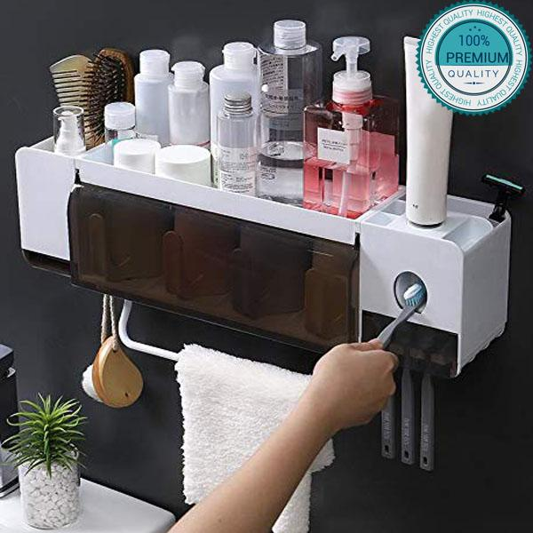 Organisateur Mural Salle de bain Lavabo Rangement Facile Brosses Dentifrice