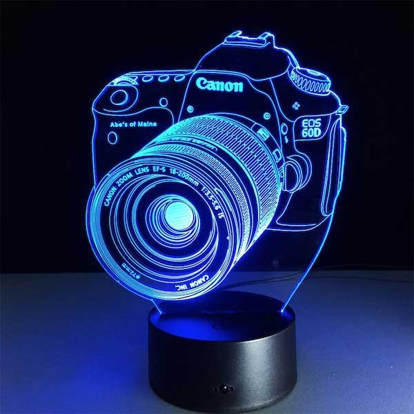 Lampe Tendance 3D LED 7 couleurs Appareil Photo Reflex