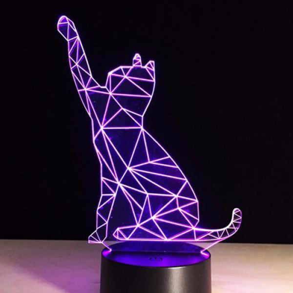Lampe Design 3D Chat 7 couleurs Ambiance Cats Patte