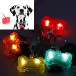 Pendentif Lumineux Chien Promenade Securite Collier Safety Dog Os