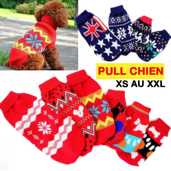 Pull chaussette pour Chiens Petits ou Grands Imprime Noel Hiver Chaud