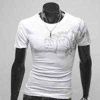 Superbe Tshirt Fashion Imprime dragon asiatique Spirit Blanc
