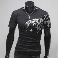 Superbe Tshirt Fashion Imprime dragon asiatique Spirit Noir