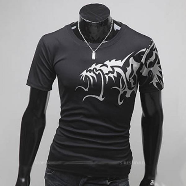 Superbe T shirt Fashion Imprime dragon asiatique Spirit Noir