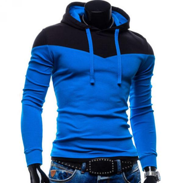 Sweater Hoodie Homme Pull Sport Bicolore capuche Fitted Bleu Noir