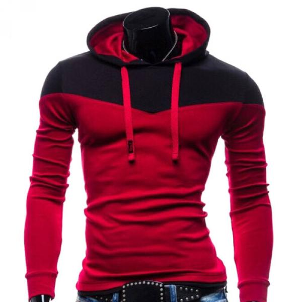 Sweater Hoodie Homme Pull Sport Bicolore capuche Fitted Rouge Noir