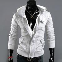 Hoodie Gilet veste a capuche et col haut High collar Fashion Men Casual gris clair