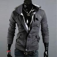 Hoodie Gilet veste a capuche et col haut High collar Fashion Men Casual gris fonce