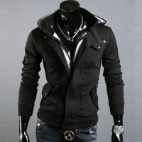 Hoodie Gilet veste a capuche et col haut High collar Fashion Men Casual noir
