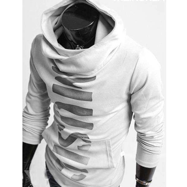 hoodie pull sweat a col montant homme fashion blanc. Black Bedroom Furniture Sets. Home Design Ideas