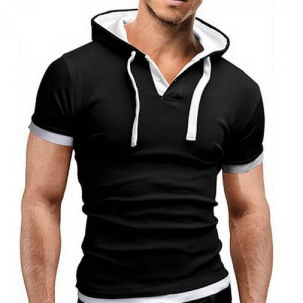 T shirt Fashion Sport capuche Fitted Noir