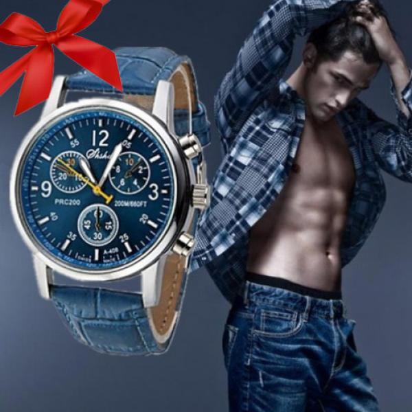 Montre Homme Analogique Mouvement Quartz Bracelet Cuir Faux croco Bleu