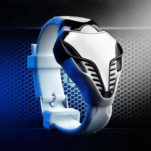 Montre Homme Led Digitale Men silicone Forme Serpent Cobra Sport Watch Blanc