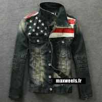 Veste Jeans Homme Usa Flag...