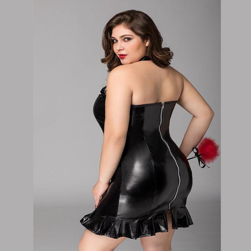 Robe Cuir Pvc Latex Noir Domination Sexy 3 Pieces