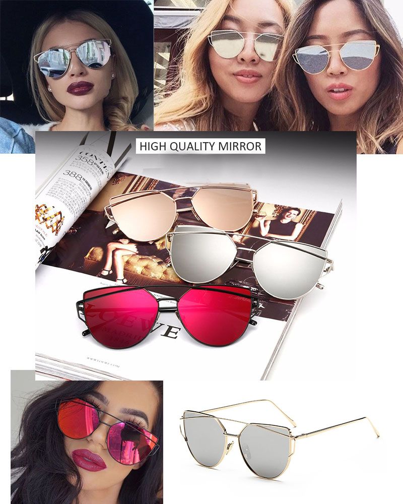 Lunettes de Soleil Femme Fashion Metal Mirror Design Vintage Cat Eye b509f67e73e7