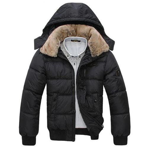 parcourir les dernières collections matériaux de haute qualité usine authentique Doudoune Homme a capuche amovible col fourrure Classe Luxe Fashion Noire